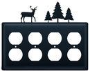 Village Wrought Iron EOOOO-203 Deer & Pine Trees - Quad. Outlet Cover