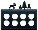 Village Wrought Iron EOOOO-22 Moose & Pine Trees - Quad. Outlet Cover