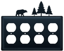 Village Wrought Iron EOOOO-83 Bear & Pine Trees - Quad. Outlet Cover