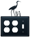 Village Wrought Iron EOOS-133 Heron - Double Outlet and Single Switch Cover