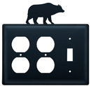 Village Wrought Iron EOOS-14 Bear - Double Outlet and Single Switch Cover