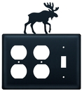 Village Wrought Iron EOOS-19 Moose - Double Outlet and Single Switch Cover