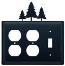 Village Wrought Iron EOOS-20 Pine Trees - Double Outlet and Single Switch Cover