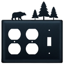 Village Wrought Iron EOOS-83 Bear & Pine Trees - Double Outlet and Single Switch Cover