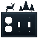 Village Wrought Iron EOSS-203 Deer & Pine Trees - Single Outlet and Double Switch Cover