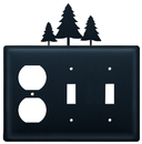 Village Wrought Iron EOSS-20 Pine Trees - Single Outlet and Double Switch Cover