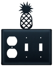 Village Wrought Iron EOSS-44 Pineapple - Single Outlet and Double Switch Cover