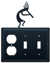 Village Wrought Iron EOSS-56 Kokopelli - Single Outlet and Double Switch Cover