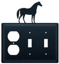 Village Wrought Iron EOSS-68 Horse - Single Outlet and Double Switch Cover