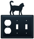 Village Wrought Iron EOSS-6 Cat - Single Outlet and Double Switch Cover