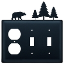 Village Wrought Iron EOSS-83 Bear & Pine Trees - Single Outlet and Double Switch Cover