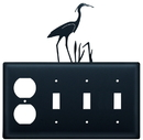 Village Wrought Iron EOSSS-133 Heron - Single Outlet and Triple Switch Cover