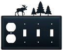 Village Wrought Iron EOSSS-22 Moose & Pine Trees - Single Outlet and Triple Switch Cover
