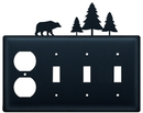 Village Wrought Iron EOSSS-83 Bear & Pine Trees - Single Outlet and Triple Switch Cover