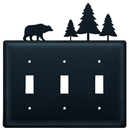 Village Wrought Iron ESSS-83 Bear & Pine - Triple Switch Cover