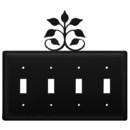 Village Wrought Iron ESSSS-109 Leaf Fan - Quadruple Switch Cover