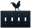 Village Wrought Iron ESSSS-1 Rooster - Quadruple Switch Cover