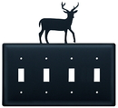 Village Wrought Iron ESSSS-3 Deer - Quadruple Switch Cover