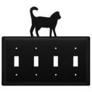 Village Wrought Iron ESSSS-6 Cat - Quadruple Switch Cover