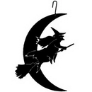 Village Wrought Iron HOS-219 Witch-Moon - Decorative Hanging Silhouette