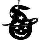Village Wrought Iron HOS-233 Pumpkin-Hat - Decorative Hanging Silhouette