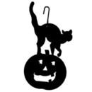 Village Wrought Iron HOS-28 Cat/Pumpkin - Decorative Hanging Silhouette