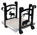 Village Wrought Iron RB-100-101 Moose & Bear - Newspaper Recycle Bin