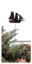 Village Wrought Iron RGS-12 Sail Boat - Rusted Garden Stake
