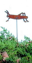 Village Wrought Iron RGS-16 Grasshopper - Rusted Garden Stake
