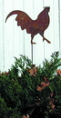 Village Wrought Iron RGS-1 Rooster - Rusted Garden Stake