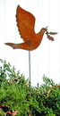Village Wrought Iron RGS-30 Dove - Rusted Garden Stake