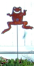 Village Wrought Iron RGS-34 Frog - Rusted Garden Stake