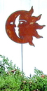 Village Wrought Iron RGS-62 Sun/Moon - Rusted Garden Stake
