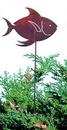 Village Wrought Iron RGS-80 Tropical Fish - Rusted Garden Stake