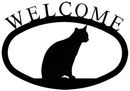 Village Wrought Iron WEL-246-S Cat Sitting - Welcome Sign Small