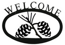 Village Wrought Iron WEL-89-L Pinecone Welcome Sign LG