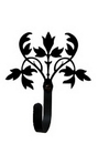 Village Wrought Iron WH-173-S Floral - Wall Hook Small