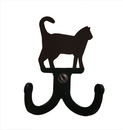 Village Wrought Iron WH-D-6 Cat - Double Wall Hook