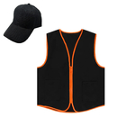 TOPTIE Unisex Workwear Set, Zipper Closure Vest & Baseball Cap, Cool For Summer