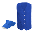 TOPTIE Supermarket Workwear Uniform Set, Front Button 2-Pocket Vest & Visor Hat
