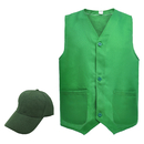 TOPTIE Staff Workwear Set, Unisex Button Closure Vest & Basic Cap