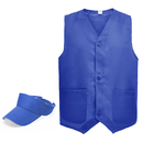 TOPTIE Staff Uniform Set, Unisex Button Closure Vest & Adjustable Visor Cap