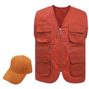 TOPTIE Workwear Vest & Sun Hat Set, Multi-Pockets Zipper Vest, Adult & Kid Size