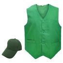 TOPTIE Restaurant Formal Dress Vest & Solid Color Cap Set, Clerk Uniform