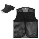 TOPTIE Summer Uniform Set, Mesh Polyester Zipper Vest & Solid Color Visor Hat