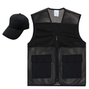 TOPTIE Summer Activity Set, Mesh Front Zipper Vest & Basic Cap, 2 Pockets