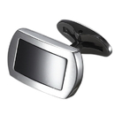 Caseti Charlie Tango Stainless Steel and Black Onyx Cuff Links