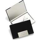 Visol Credit Black Leather Stainless Steel Business Card Case