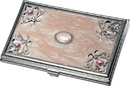 Visol Ariella Pink Marble and Stainless Steel Business Card Case