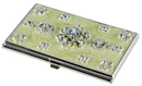 Visol Meridian Light Green Lacquer With Blue Crystals Women's Business Card Case